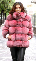 Anna Kendrick in dyed red fox fur