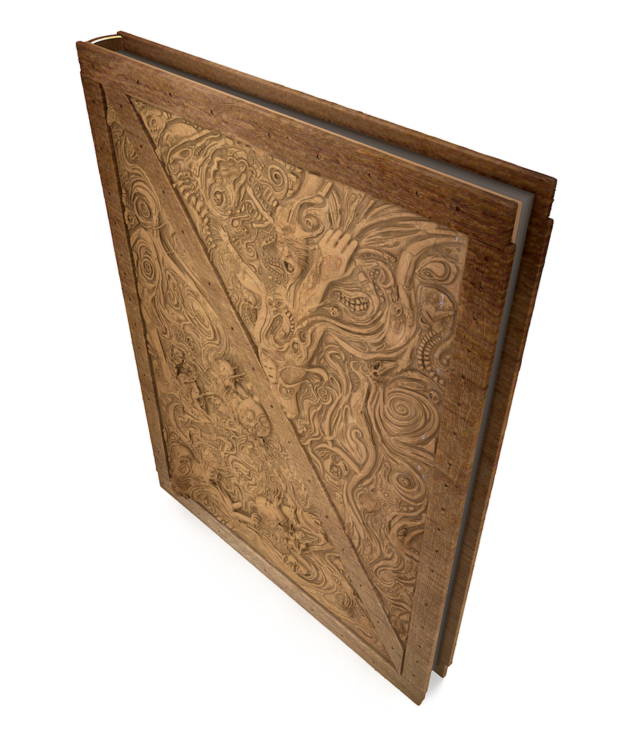 Wood Cover Cookbook : Carved wood book cover for graphic novel by fantomzero on
