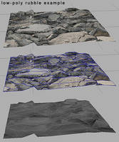 low-poly 3d rubble example by Athey
