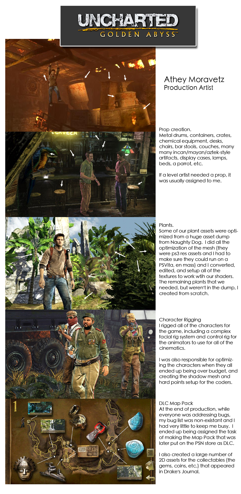 Uncharted Golden Abyss Resume Sample Sheet Page by Athey