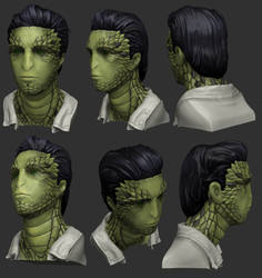3D Reptilian-Humanoid Bust