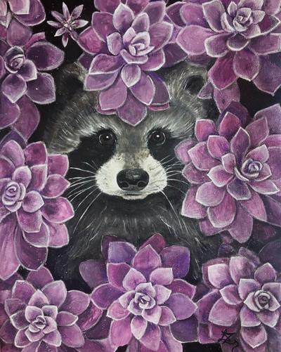 racoon painting by liptaizsofi