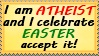 Atheist and easter stamp by Kharotus