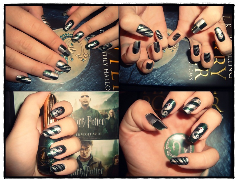 Slytherin nail art by Niquesse on DeviantArt