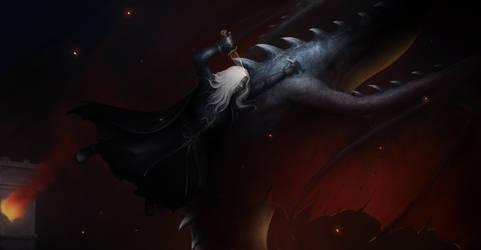 Dark Elf slaying a dragon