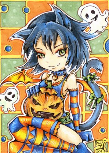 ACEO 081 Halloween Catgirl by WojikHell