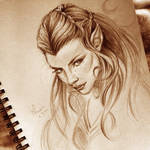 sketch of Nicole Evangeline Lilly as Tauriel