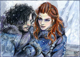 ACEO 101 Jon Snow and Ygritte/ Game of Thrones by WojikHell