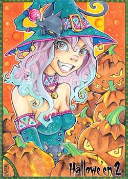 Hallowe'en 2 sketch card - Little Witch