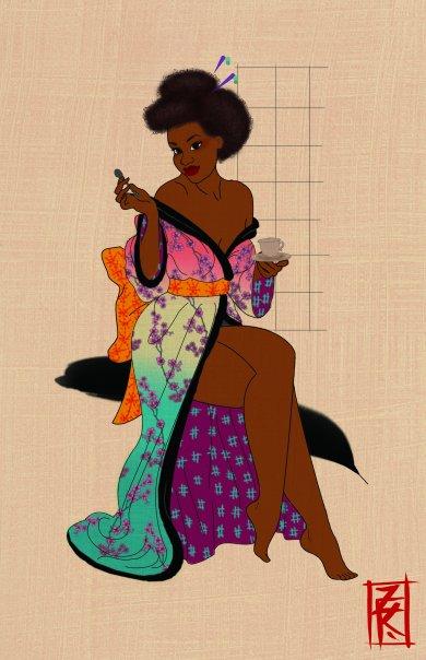 kimono girl w tea by KellysDolls