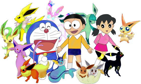 Doraemon|Nobita|Shizuka|Eeveelution|Victini by pqh5703