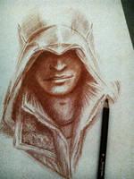 Incomplete Ezio Auditore (sanguigna pencil) part.3 by Musiriam
