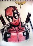 Deadpool - Ballpoint pen and watercolors