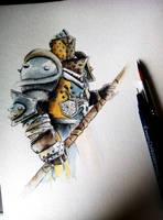 Lawbringer - Wip - Ink and watercolors by Musiriam