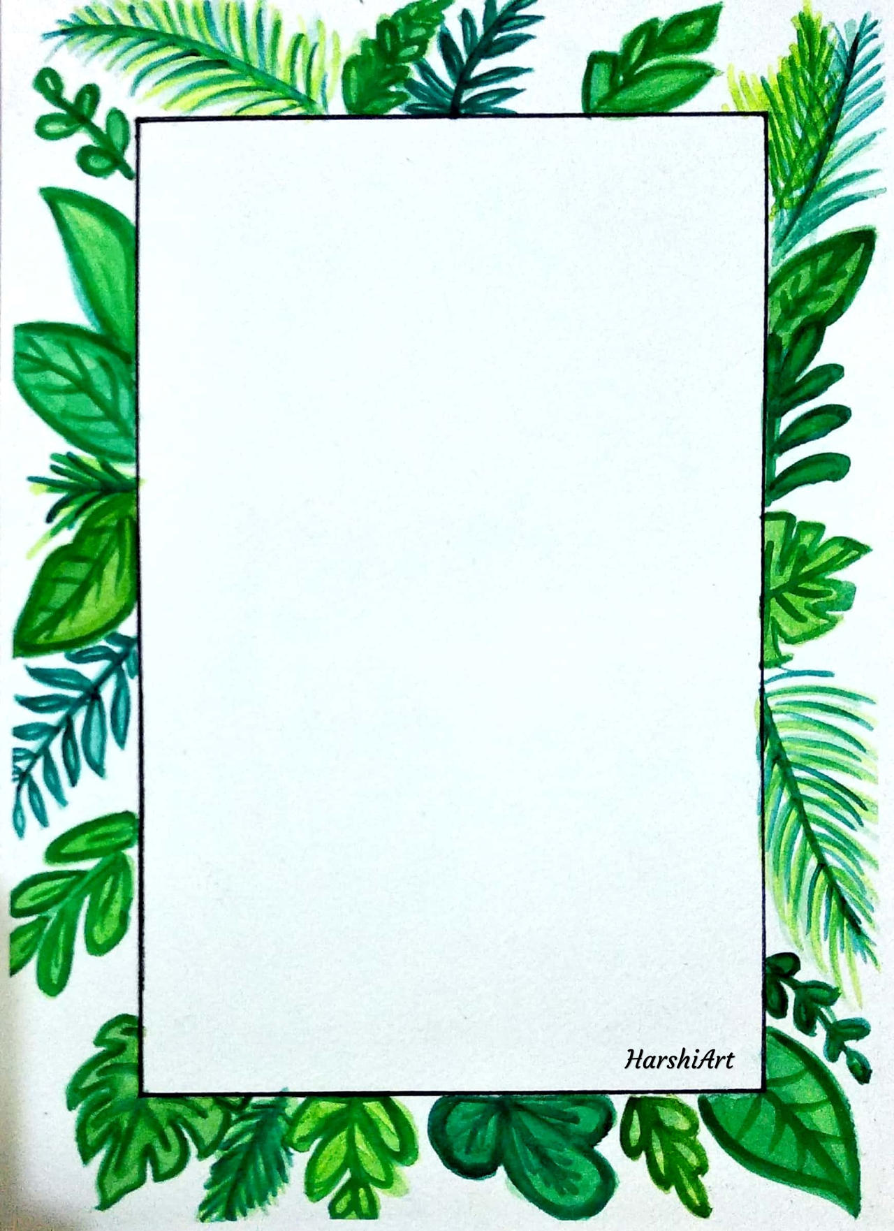 Watercolour Tropical Leaves Border By Harshiart On Deviantart Pastel tropical palm leaves and bamboo green mauve beige by kathy ireland wallpaper border nl57002b. watercolour tropical leaves border by