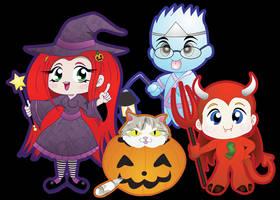 Halloween Family Group drawing by Octoyaki
