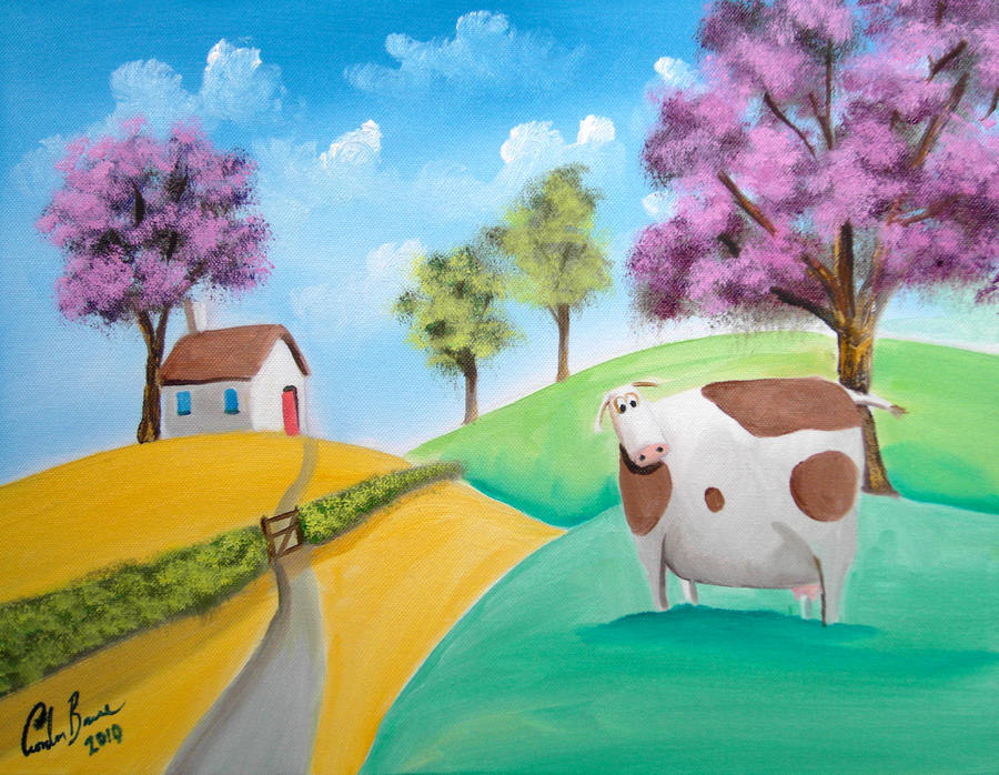 Cute cow trees painting by gordonbruce on deviantart for Cute watercolor paintings
