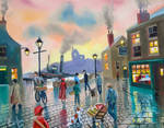 'the old harbour' oil painting