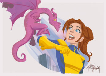 Kitty Pryde and Lockheed by thiagovale