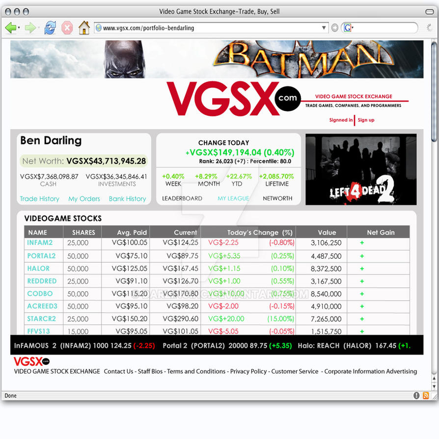 VGSX Portfolio page by darlinginc