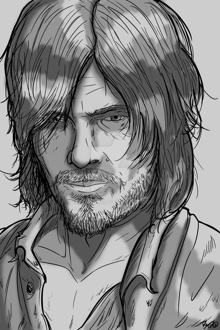 Walking Dead Sketch Cards: Daryl by darlinginc