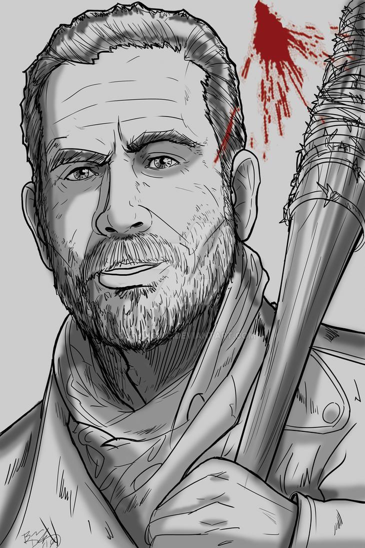 Walking Dead Sketch Card: Negan by darlinginc