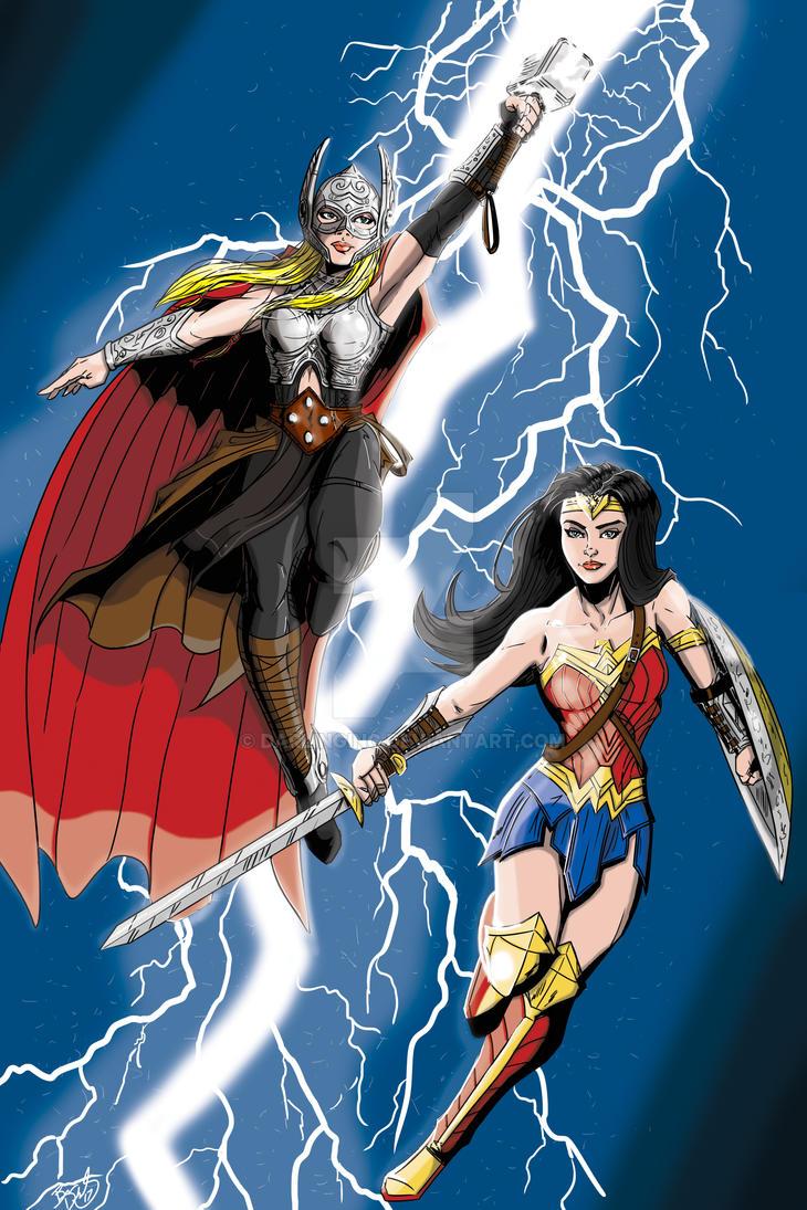 Thor and Wonder Woman by darlinginc