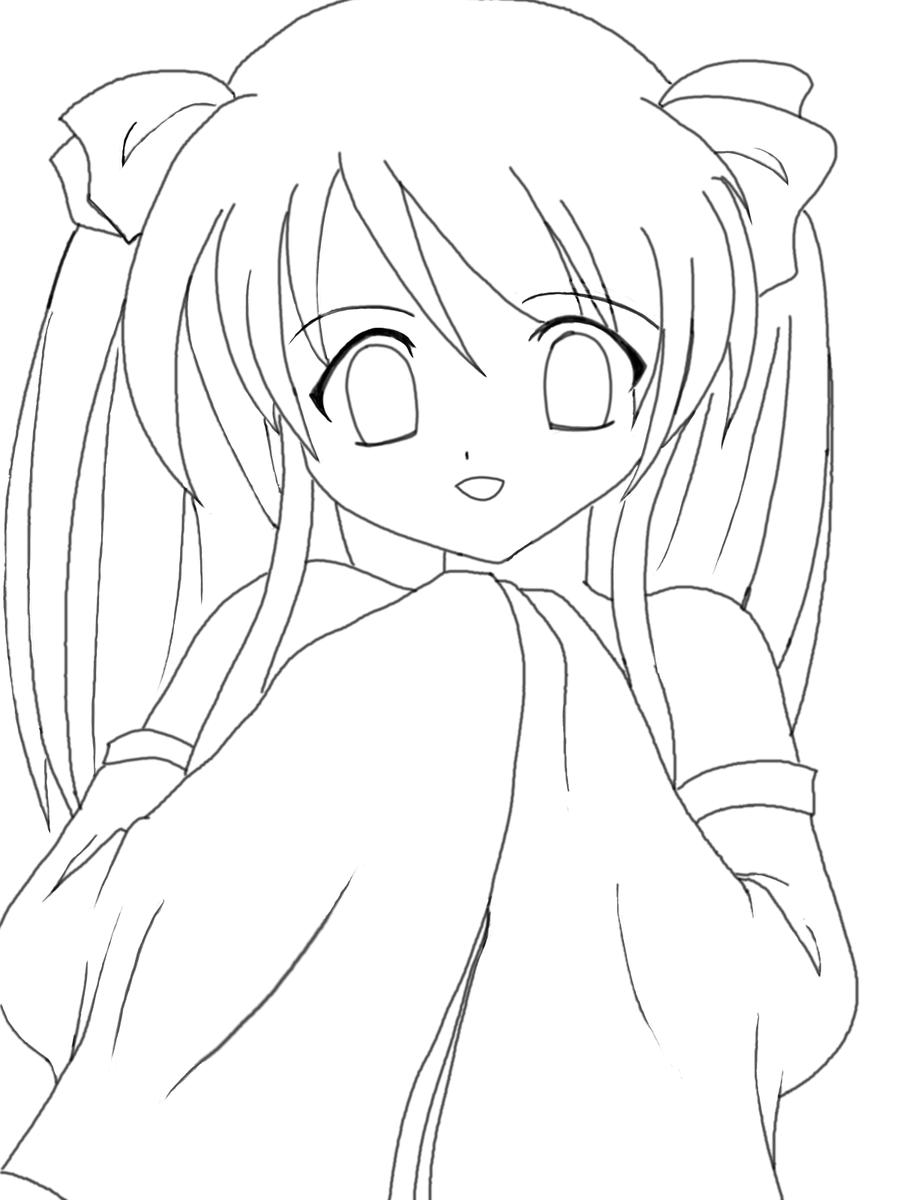 Anime Kawaii Girl Lineart By Riikochan Artworks On DeviantArt