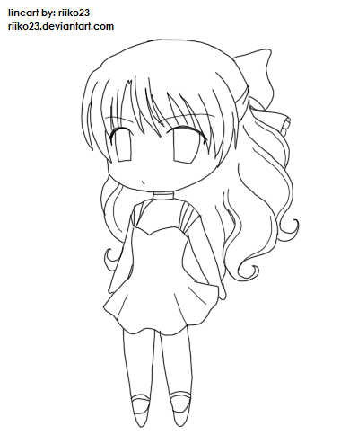 Anime chibi girl lineart by riikochan artworks