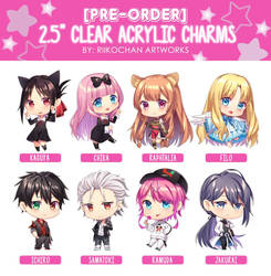 [PRE-ORDER] 2.5 Clear Acrylic Charms by Riikochan-Artworks