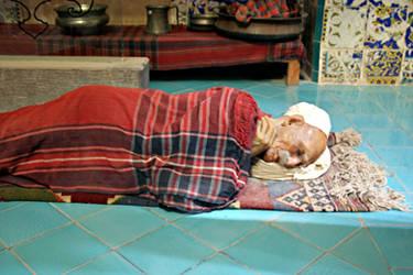 Sleeping Wax Figure in Iranian Bath House Museum