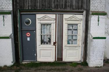 Luxurious Dilapidated White-painted Door Duo