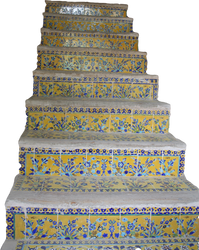 Flower Pattern Tiled Stairs