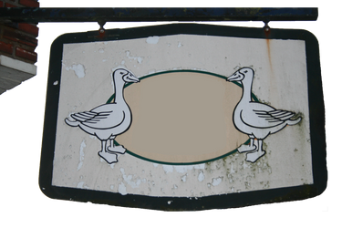 Dilapidated Peeled Sign board with Geese figures