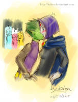 Raven and Beast boy by MBlackBunny