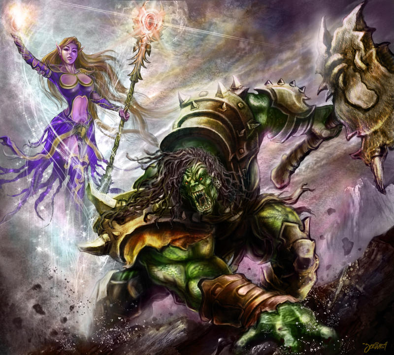 orc captain and mage elf