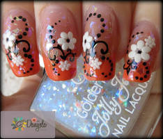 Orange french manicure and spring flowers