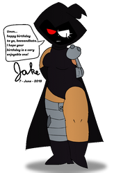 Sigma shyly giving a birthday message by jakelsm