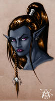 Drow Female Portrait by LazarusReturns