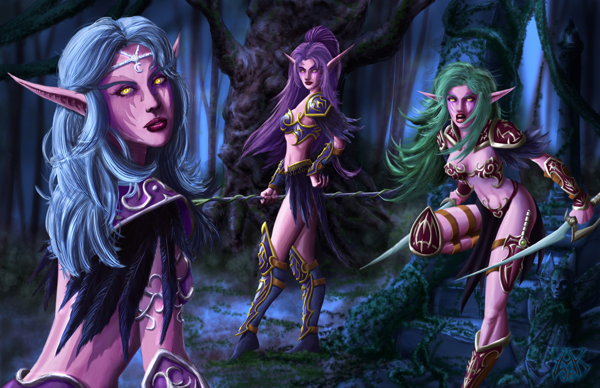 Night Elves Scene by LazarusReturns