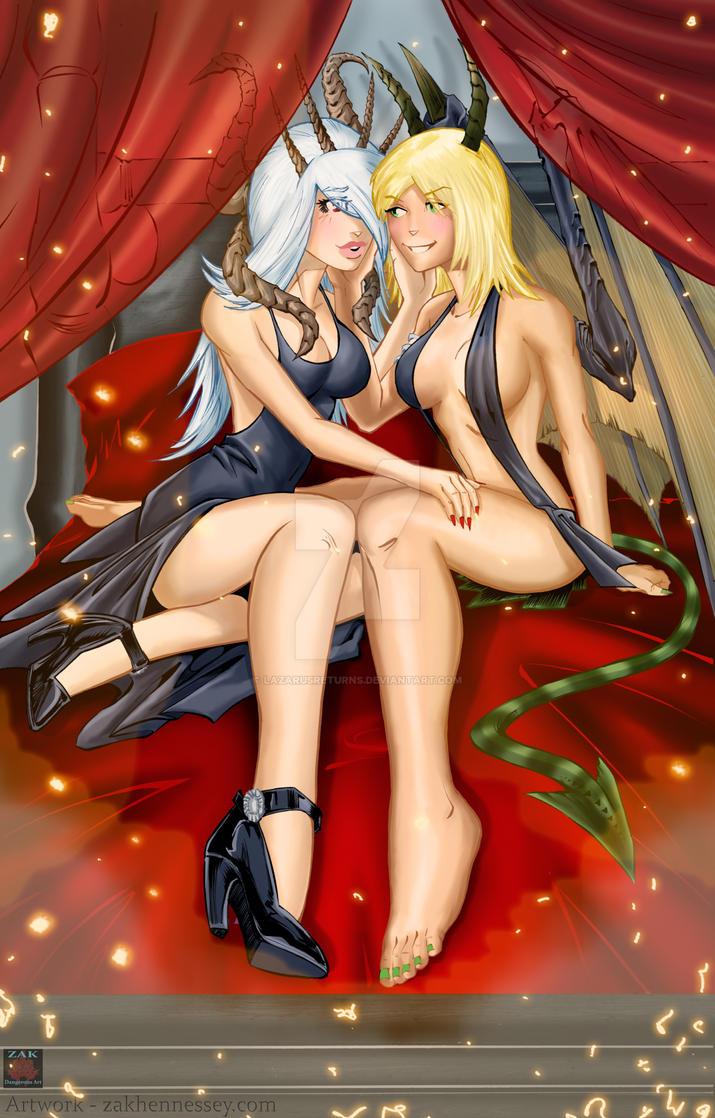 Commission - Two Unique Girls by LazarusReturns