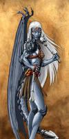 Half Dragon Drow Female Psion by LazarusReturns