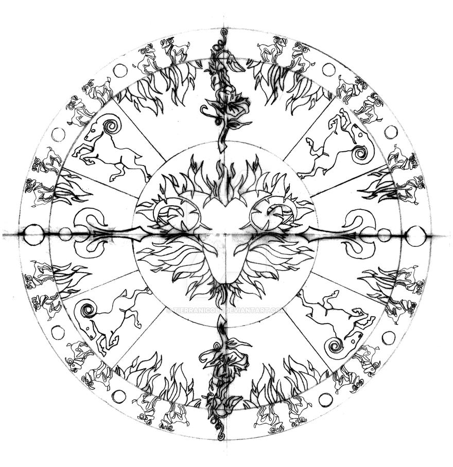 Line Drawing Mandala : Aries mandala line work by tierranicole on deviantart