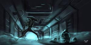 Xenomorph in the Corridor