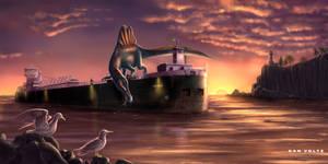 Spinosaur on Boat - Dawn Fishing