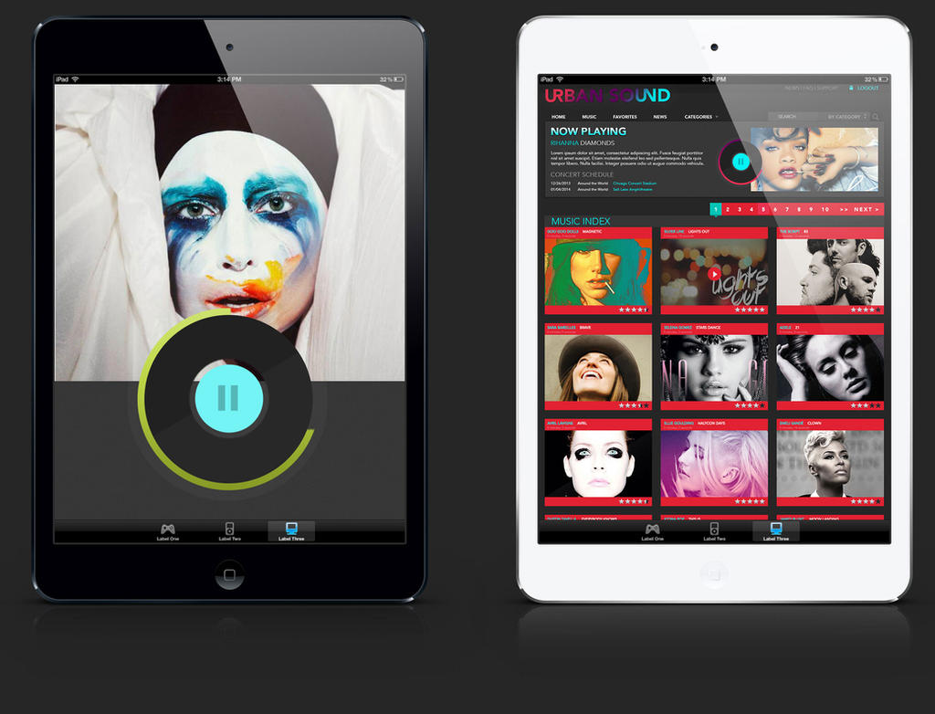 iPad design for music player by brookiecookie