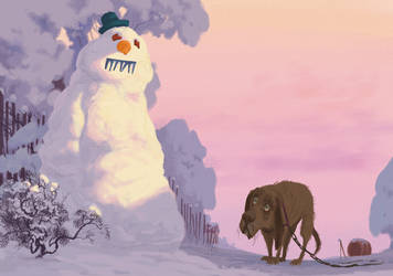 The dog and the snowman
