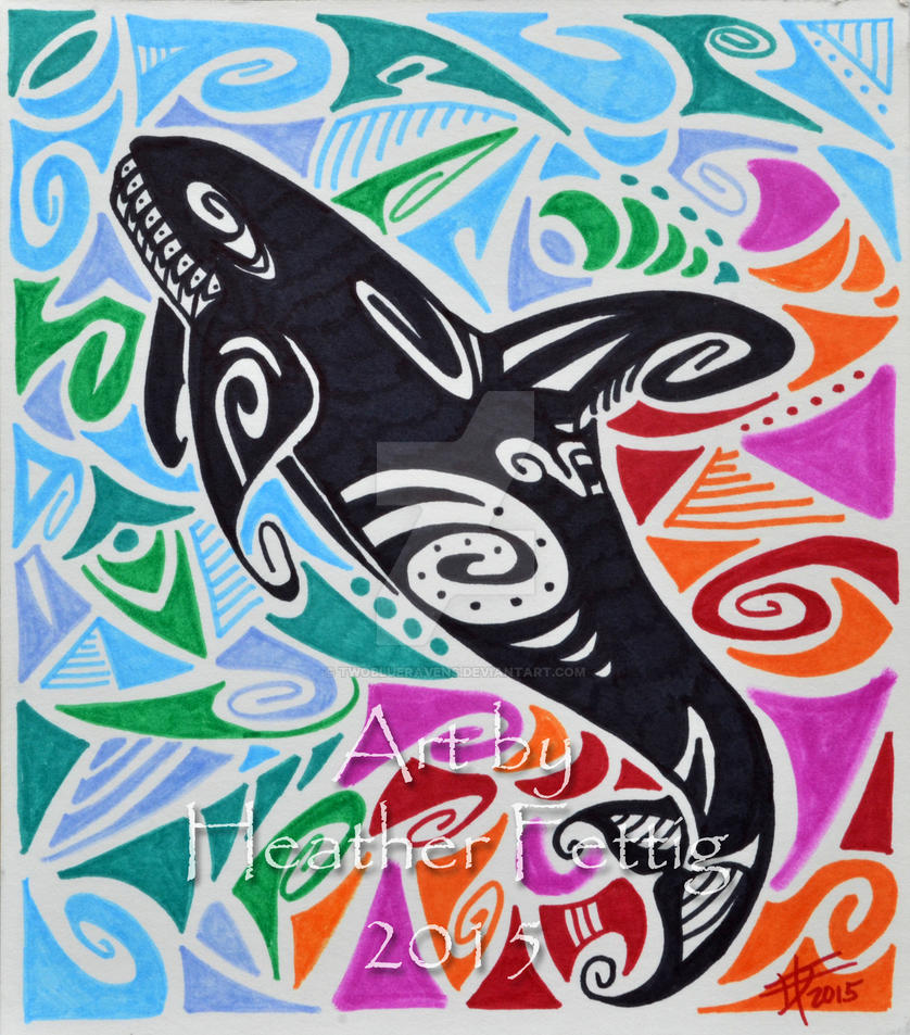 Tribal orca drawing