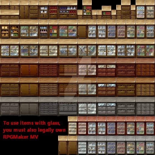 Wood Shelves Interior tileset - RPG TileSet Free Curated