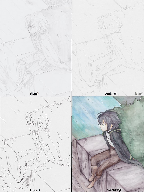 Yuichiro Hyakuya - art process by CrystalMelody-FT